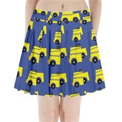 A Fun Cartoon Taxi Cab Tiling Pattern Pleated Mini Skirt