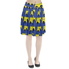 A Fun Cartoon Taxi Cab Tiling Pattern Pleated Skirt