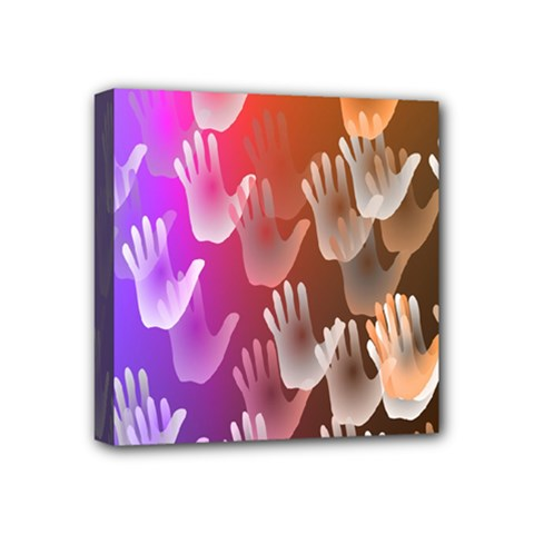 Clipart Hands Background Pattern Mini Canvas 4  x 4