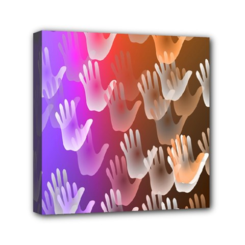 Clipart Hands Background Pattern Mini Canvas 6  x 6