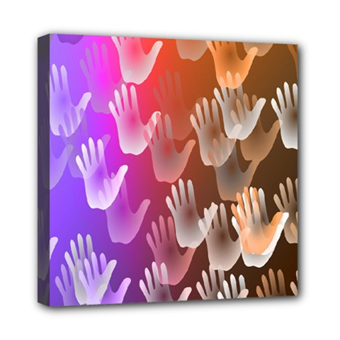 Clipart Hands Background Pattern Mini Canvas 8  x 8