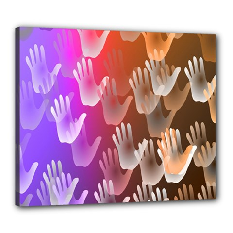 Clipart Hands Background Pattern Canvas 24  x 20