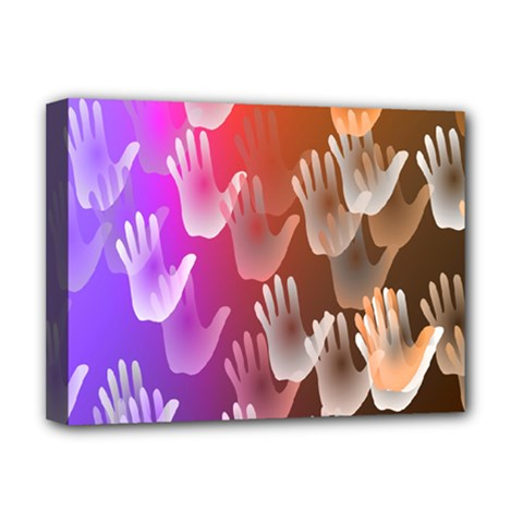 Clipart Hands Background Pattern Deluxe Canvas 16  x 12