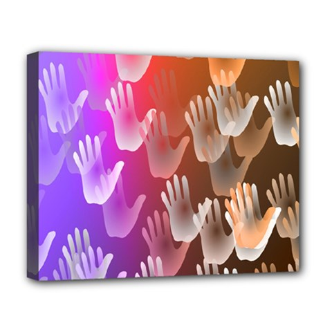 Clipart Hands Background Pattern Deluxe Canvas 20  X 16