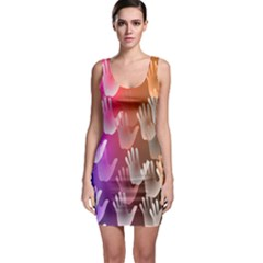 Clipart Hands Background Pattern Sleeveless Bodycon Dress