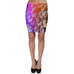 Clipart Hands Background Pattern Bodycon Skirt
