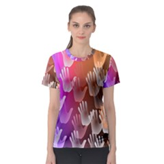 Clipart Hands Background Pattern Women s Sport Mesh Tee