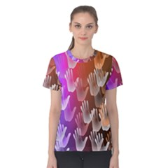 Clipart Hands Background Pattern Women s Cotton Tee