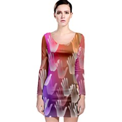 Clipart Hands Background Pattern Long Sleeve Bodycon Dress