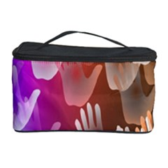 Clipart Hands Background Pattern Cosmetic Storage Case