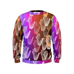 Clipart Hands Background Pattern Kids  Sweatshirt