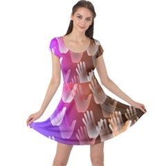 Clipart Hands Background Pattern Cap Sleeve Dresses