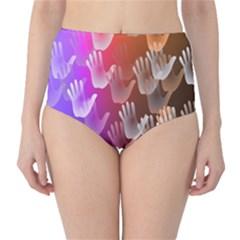 Clipart Hands Background Pattern High Waist Bikini Bottoms