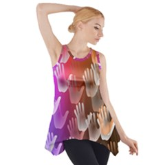 Clipart Hands Background Pattern Side Drop Tank Tunic