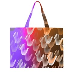 Clipart Hands Background Pattern Zipper Large Tote Bag