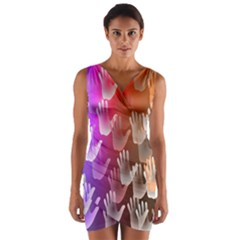 Clipart Hands Background Pattern Wrap Front Bodycon Dress