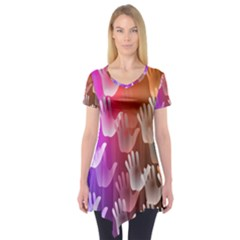 Clipart Hands Background Pattern Short Sleeve Tunic