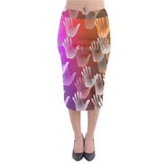 Clipart Hands Background Pattern Midi Pencil Skirt
