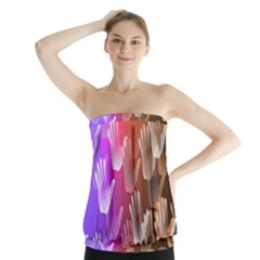 Clipart Hands Background Pattern Strapless Top