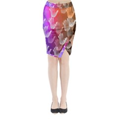 Clipart Hands Background Pattern Midi Wrap Pencil Skirt