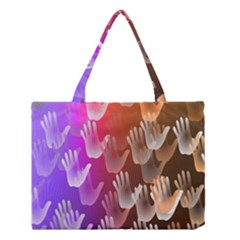 Clipart Hands Background Pattern Medium Tote Bag