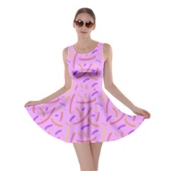 Confetti Background Pattern Pink Purple Yellow On Pink Background Skater Dress