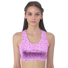 Confetti Background Pattern Pink Purple Yellow On Pink Background Sports Bra