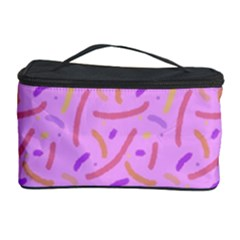 Confetti Background Pattern Pink Purple Yellow On Pink Background Cosmetic Storage Case