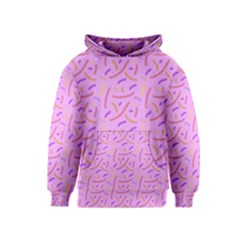 Confetti Background Pattern Pink Purple Yellow On Pink Background Kids  Pullover Hoodie