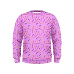 Confetti Background Pattern Pink Purple Yellow On Pink Background Kids  Sweatshirt