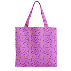 Confetti Background Pattern Pink Purple Yellow On Pink Background Zipper Grocery Tote Bag