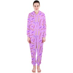 Confetti Background Pattern Pink Purple Yellow On Pink Background Hooded Jumpsuit (Ladies)