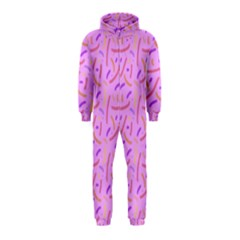 Confetti Background Pattern Pink Purple Yellow On Pink Background Hooded Jumpsuit (Kids)