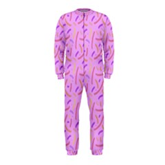 Confetti Background Pattern Pink Purple Yellow On Pink Background Onepiece Jumpsuit (kids)