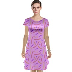 Confetti Background Pattern Pink Purple Yellow On Pink Background Cap Sleeve Nightdress