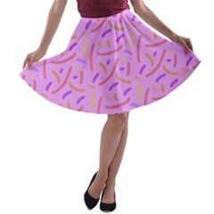 Confetti Background Pattern Pink Purple Yellow On Pink Background A-line Skater Skirt