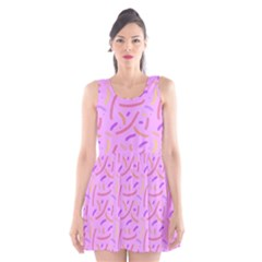 Confetti Background Pattern Pink Purple Yellow On Pink Background Scoop Neck Skater Dress