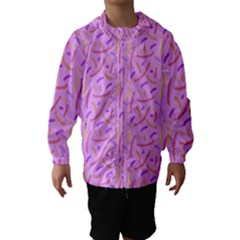Confetti Background Pattern Pink Purple Yellow On Pink Background Hooded Wind Breaker (Kids)