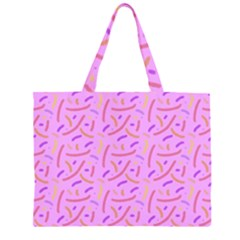 Confetti Background Pattern Pink Purple Yellow On Pink Background Large Tote Bag
