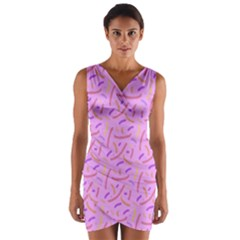 Confetti Background Pattern Pink Purple Yellow On Pink Background Wrap Front Bodycon Dress