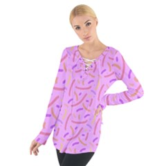 Confetti Background Pattern Pink Purple Yellow On Pink Background Women s Tie Up Tee