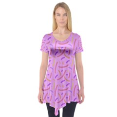 Confetti Background Pattern Pink Purple Yellow On Pink Background Short Sleeve Tunic