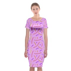 Confetti Background Pattern Pink Purple Yellow On Pink Background Classic Short Sleeve Midi Dress