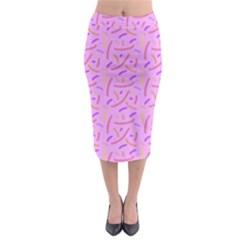 Confetti Background Pattern Pink Purple Yellow On Pink Background Midi Pencil Skirt