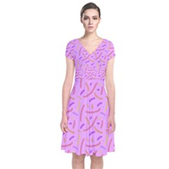 Confetti Background Pattern Pink Purple Yellow On Pink Background Short Sleeve Front Wrap Dress