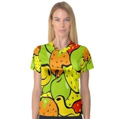 Digitally Created Funky Fruit Wallpaper Women s V-Neck Sport Mesh Tee