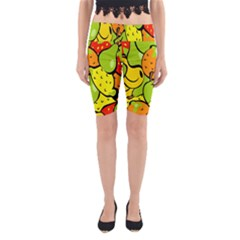 Digitally Created Funky Fruit Wallpaper Yoga Cropped Leggings