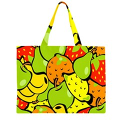 Digitally Created Funky Fruit Wallpaper Zipper Large Tote Bag