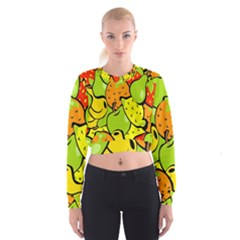 Digitally Created Funky Fruit Wallpaper Cropped Sweatshirt