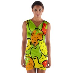 Digitally Created Funky Fruit Wallpaper Wrap Front Bodycon Dress